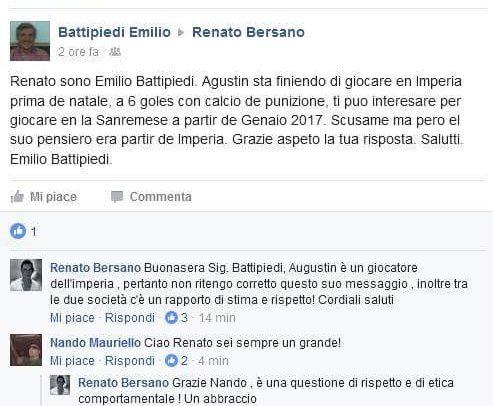 Anche Battipiedi via da Imperia? Parente del giocatore contatta Bersano tramite Facebook!