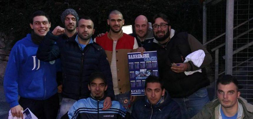 Stefano Sturaro a vedere la Sanremese insieme ai tifosi biancoazzurri