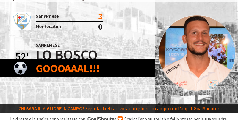 Sanremese-Montecatini 3-0: gol di Loreto Lo Bosco al 52′