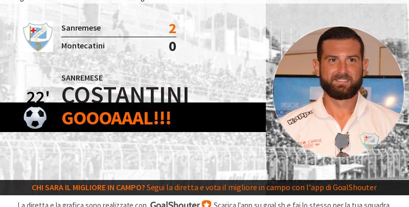 Sanremese-Montecatini 2-0: gol di Costantini al 22′