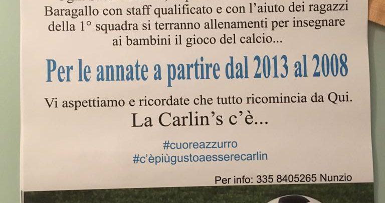 Carlin's Boys, riparte la Scuola Calcio per le annate dal 2008 al 2013