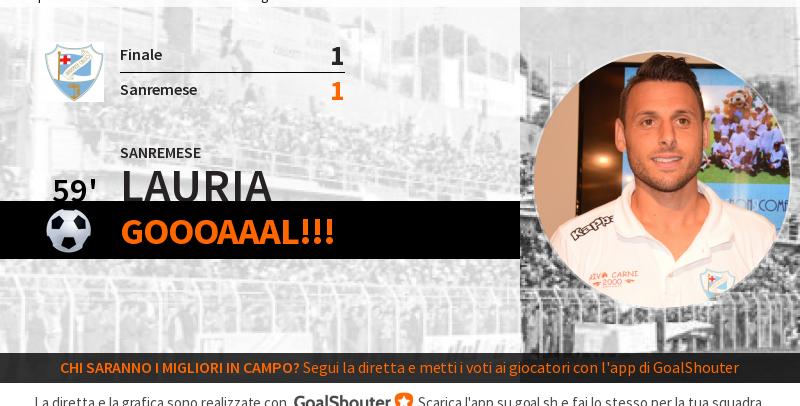LIVE – Finale-Sanremese 1-1: Lauria dal dischetto al 59′!