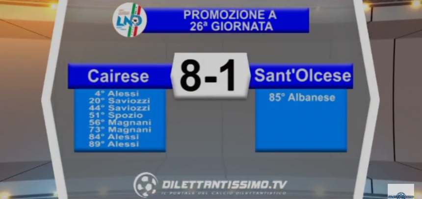 Promozione A, gli Highlights di Cairese-Sant'Olcese Cfss 8-1 by Dilettantissimo