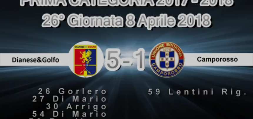 Prima Categoria A, gli Highlights di Dianese&Golfo-Camporosso 5-1