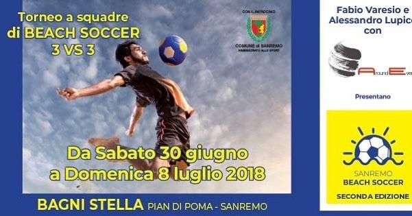"""2° Torneo di Calcio su spiaggia """"SANREMO BEACH SOCCER"""": tutte le info"""