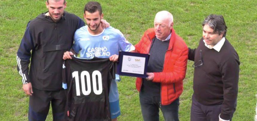 Filippo Scalzi festeggia le 100 presenze con la maglia della Sanremese Calcio