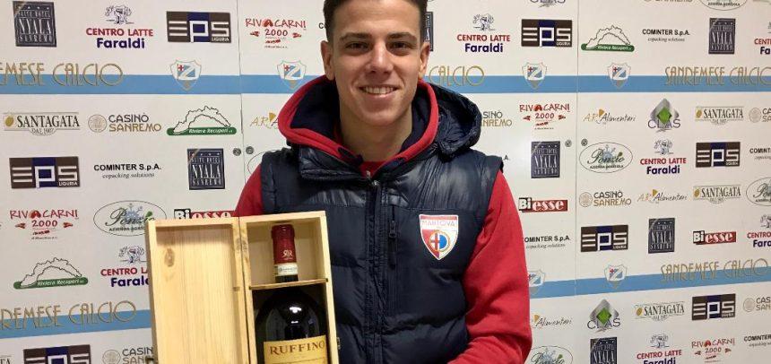 """Federico Varano vince il premio """"Agenzia Grandi Vini Man of the Match"""" per Sanremese-Mantova 0-1"""