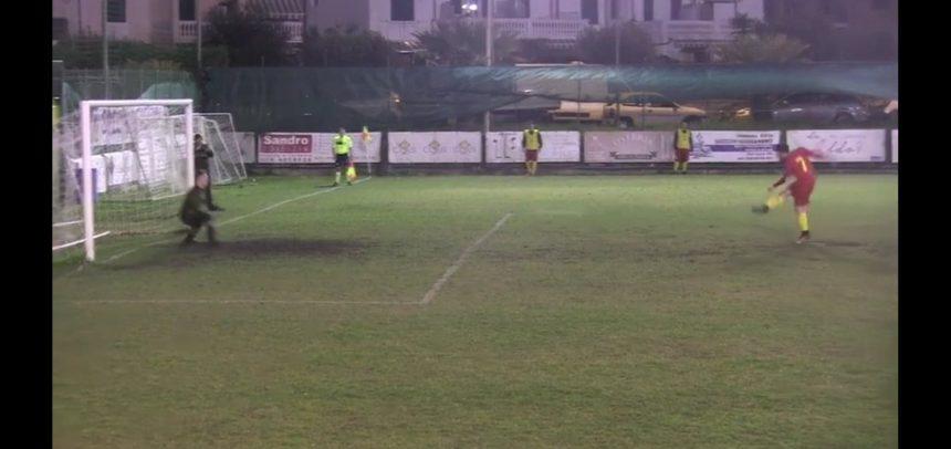 Taggia-Ceriale 4-2, il rigore che Breeuwer ha parato a Luca Botti