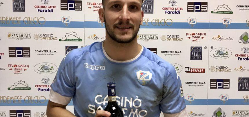 """Loreto Lo Bosco vince il premio """"Agenzia Grandi Vini Man of the Match"""" per Sanremese – Pro Dronero"""