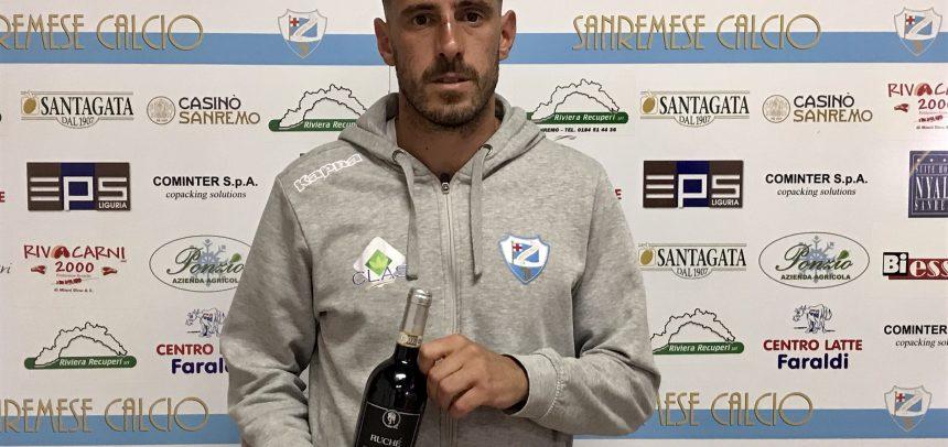 """Max Taddei vince il premio """"Agenzia Grandi Vini Man of the Match"""" per la semifinale playoff Sanremese-Inveruno 0-1"""
