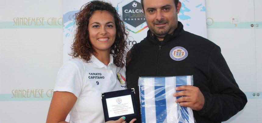 Elisa Cerato premiata come capocannoniere del campionato a 5 femminile di Seborga